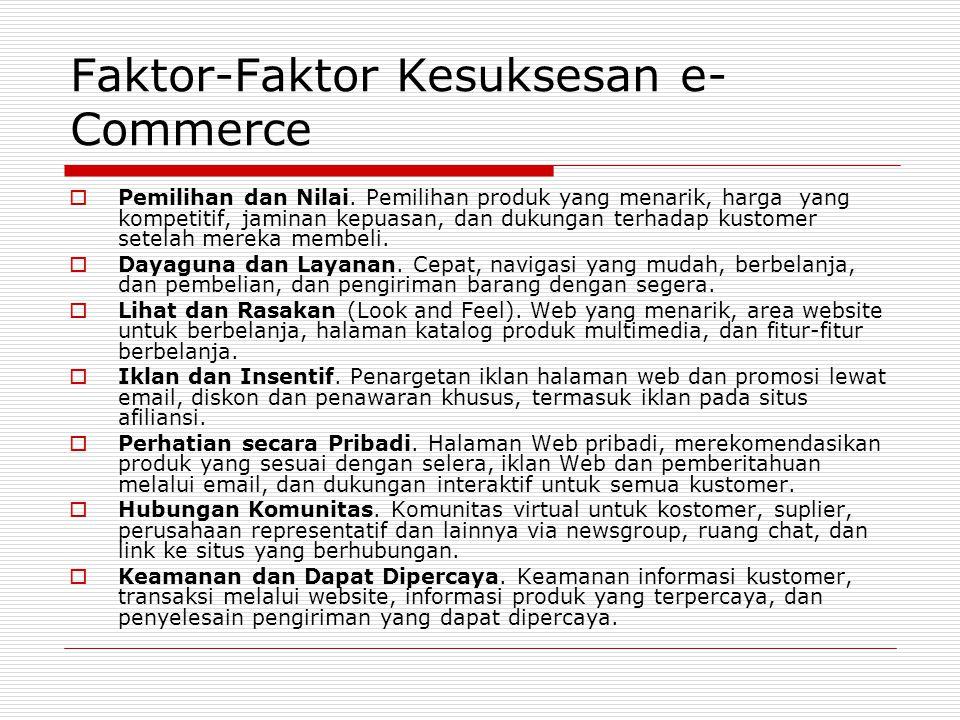 Faktor-Faktor Kesuksesan e- Commerce  Pemilihan dan Nilai. Pemilihan produk yang menarik, harga yang kompetitif, jaminan kepuasan, dan dukungan terha