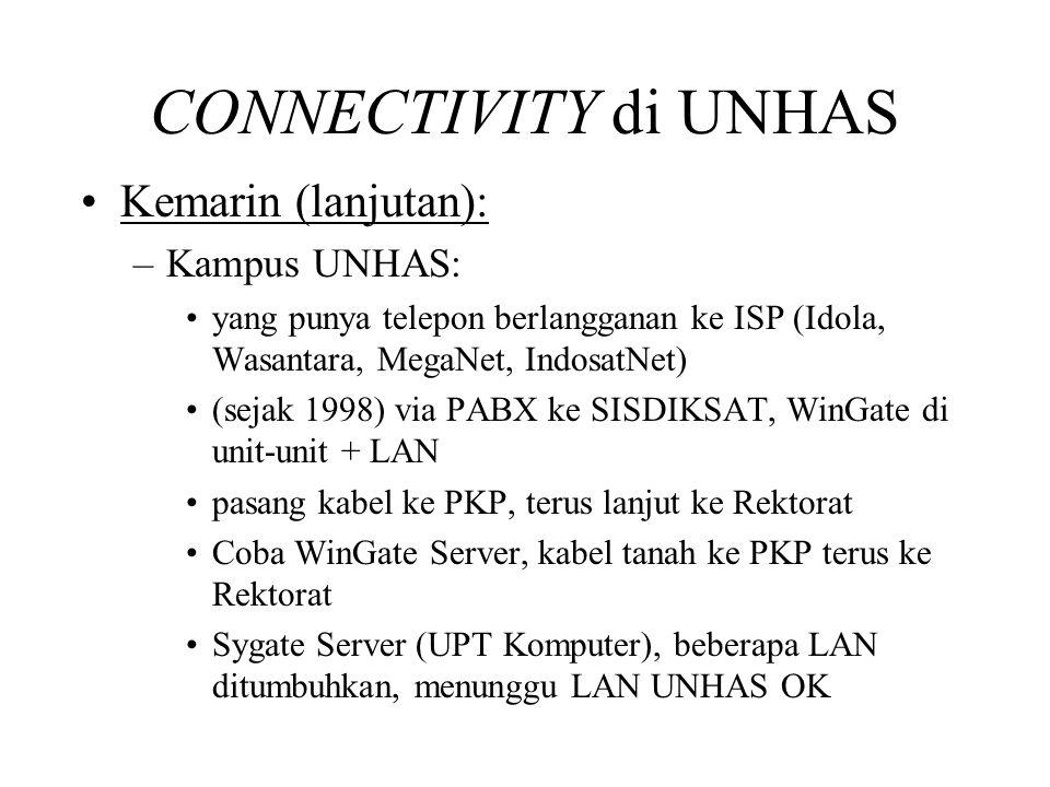 CONNECTIVITY di UNHAS •Kemarin (lanjutan): –Kampus UNHAS: •yang punya telepon berlangganan ke ISP (Idola, Wasantara, MegaNet, IndosatNet) •(sejak 1998) via PABX ke SISDIKSAT, WinGate di unit-unit + LAN •pasang kabel ke PKP, terus lanjut ke Rektorat •Coba WinGate Server, kabel tanah ke PKP terus ke Rektorat •Sygate Server (UPT Komputer), beberapa LAN ditumbuhkan, menunggu LAN UNHAS OK