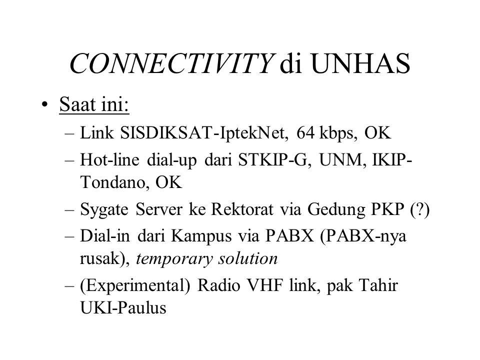 CONNECTIVITY di UNHAS •Saat ini: –Link SISDIKSAT-IptekNet, 64 kbps, OK –Hot-line dial-up dari STKIP-G, UNM, IKIP- Tondano, OK –Sygate Server ke Rektorat via Gedung PKP (?) –Dial-in dari Kampus via PABX (PABX-nya rusak), temporary solution –(Experimental) Radio VHF link, pak Tahir UKI-Paulus