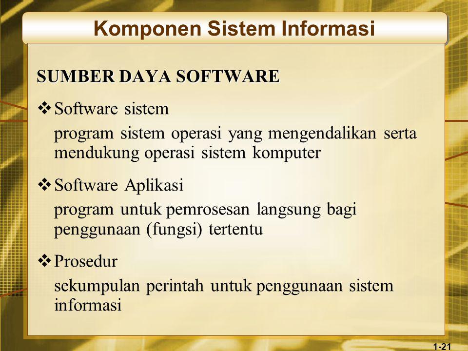 1-21 Komponen Sistem Informasi SUMBER DAYA SOFTWARE  Software sistem program sistem operasi yang mengendalikan serta mendukung operasi sistem komputer  Software Aplikasi program untuk pemrosesan langsung bagi penggunaan (fungsi) tertentu  Prosedur sekumpulan perintah untuk penggunaan sistem informasi
