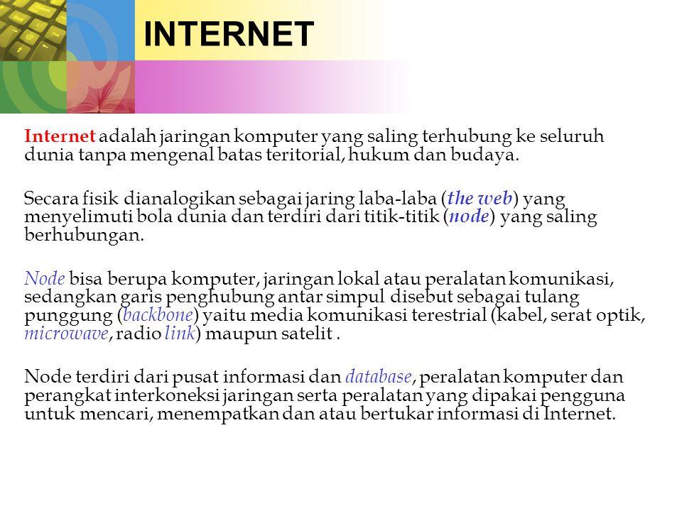 INTERNET Internet adalah jaringan komputer yang saling terhubung ke seluruh dunia tanpa mengenal batas teritorial, hukum dan budaya.