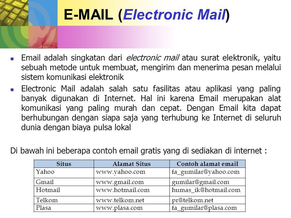 FUNGSI E-MAIL 1.Sebagai alat komunikasi untuk pribadi maupun perusahaan 2.
