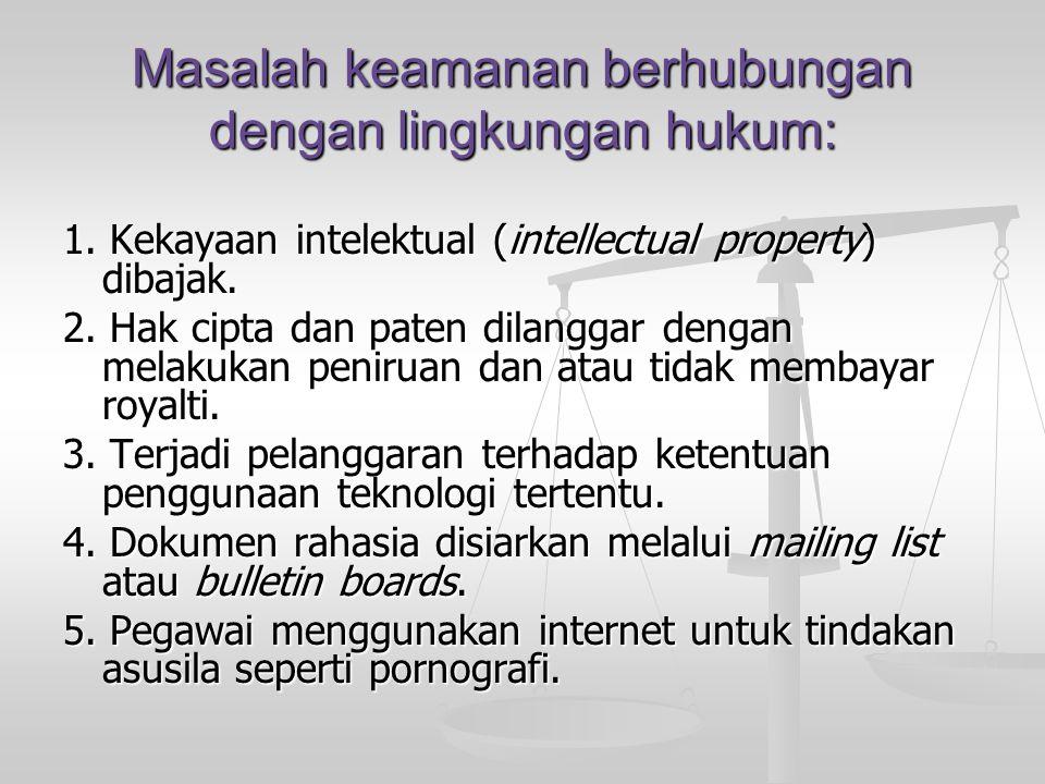 Masalah keamanan berhubungan dengan lingkungan hukum: 1. Kekayaan intelektual (intellectual property) dibajak. 2. Hak cipta dan paten dilanggar dengan