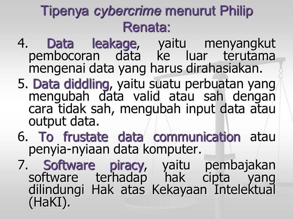 Tipenya cybercrime menurut Philip Renata: 4. Data leakage, yaitu menyangkut pembocoran data ke luar terutama mengenai data yang harus dirahasiakan. 5.