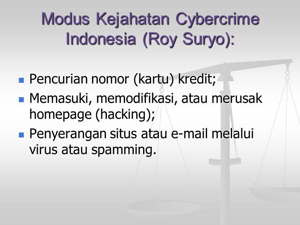 Modus Kejahatan Cybercrime Indonesia (Roy Suryo):  Pencurian nomor (kartu) kredit;  Memasuki, memodifikasi, atau merusak homepage (hacking);  Penye