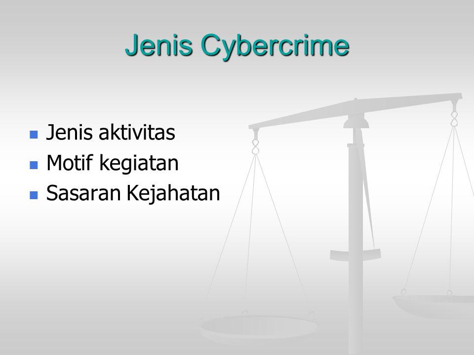 Jenis Cybercrime  Jenis aktivitas  Motif kegiatan  Sasaran Kejahatan