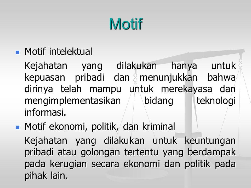 Motif  Motif intelektual Kejahatan yang dilakukan hanya untuk kepuasan pribadi dan menunjukkan bahwa dirinya telah mampu untuk merekayasa dan mengimp