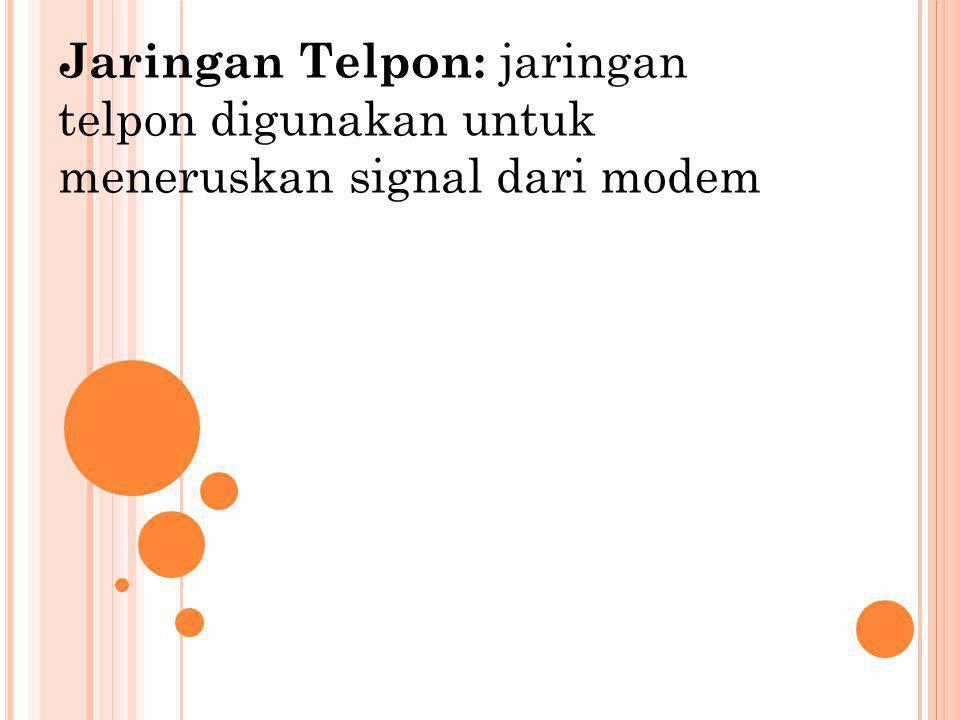 Jaringan Telpon: jaringan telpon digunakan untuk meneruskan signal dari modem