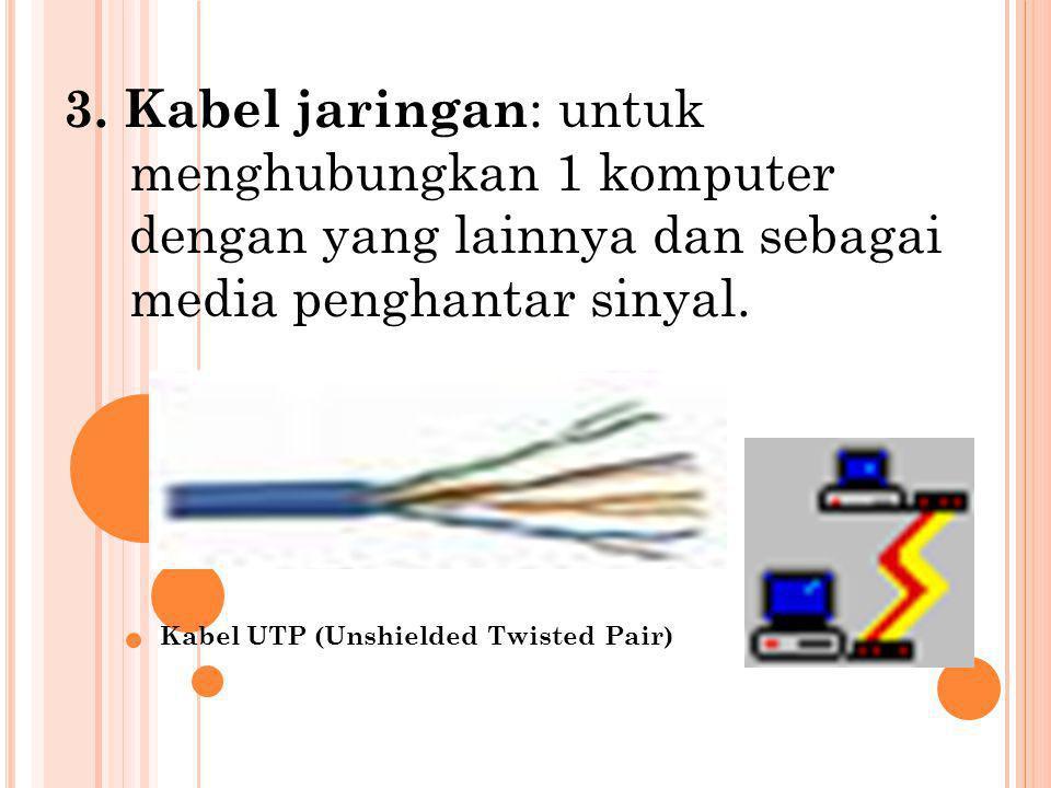 3. Kabel jaringan : untuk menghubungkan 1 komputer dengan yang lainnya dan sebagai media penghantar sinyal. Kabel UTP (Unshielded Twisted Pair)