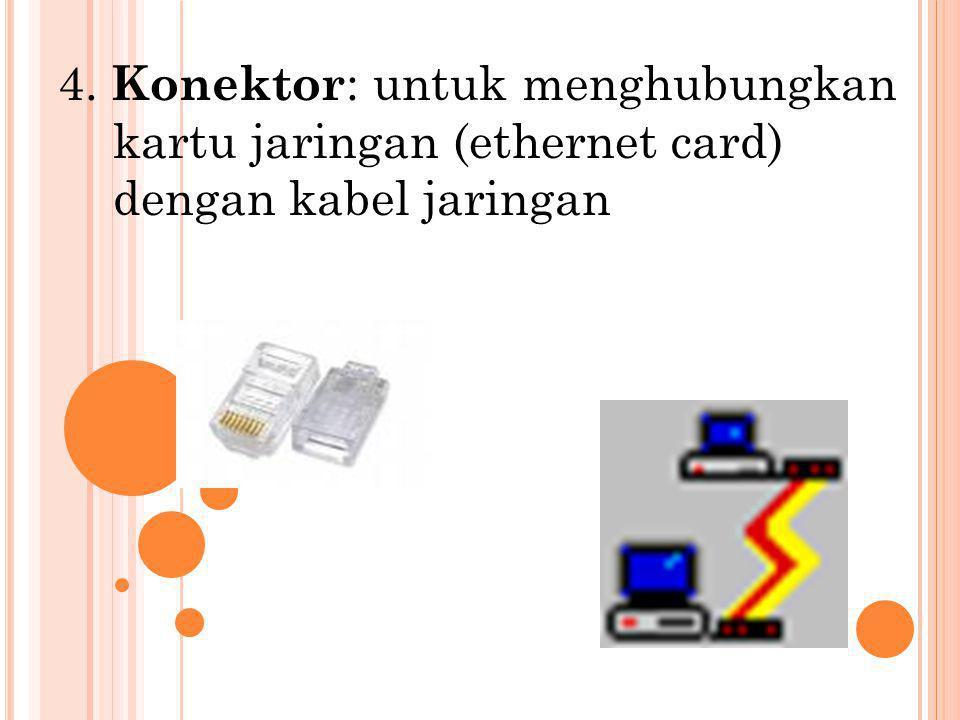 4. Konektor : untuk menghubungkan kartu jaringan (ethernet card) dengan kabel jaringan