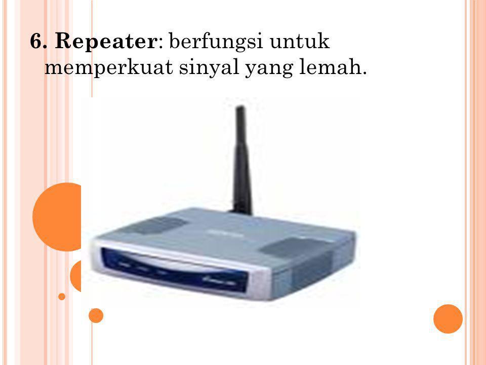7. Router : untuk mengatur aliran data dari satu jaringan ke jaringan yang lain.