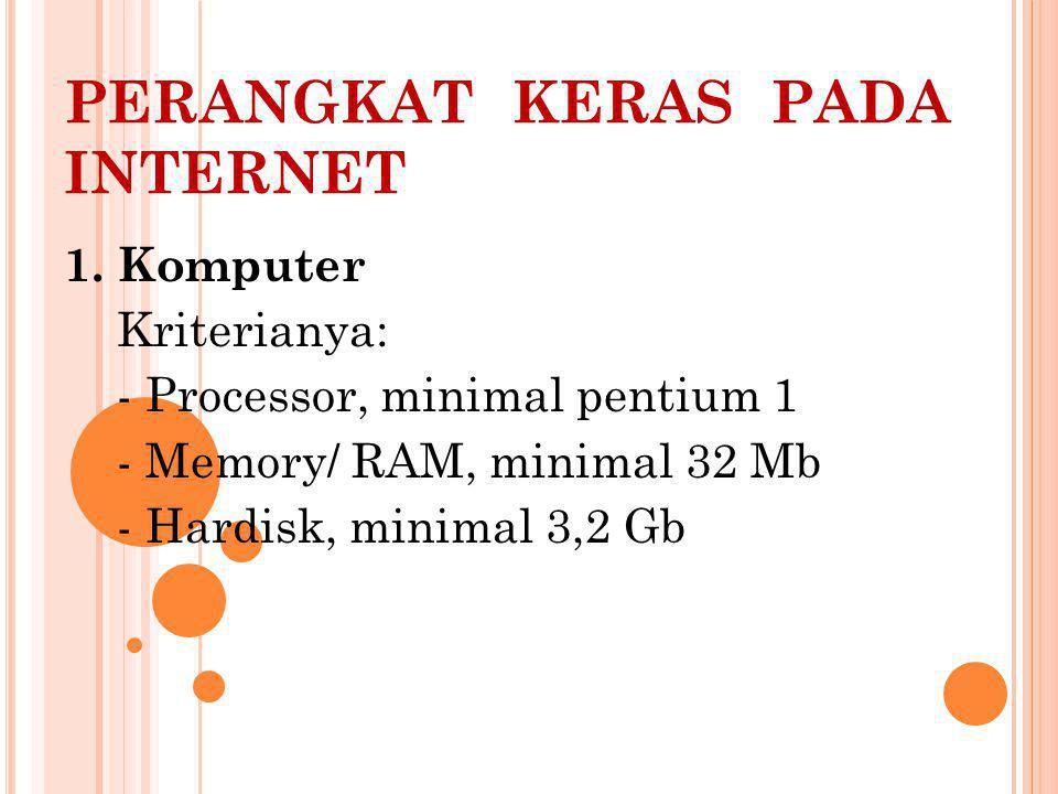 PERANGKAT KERAS PADA INTERNET 1.