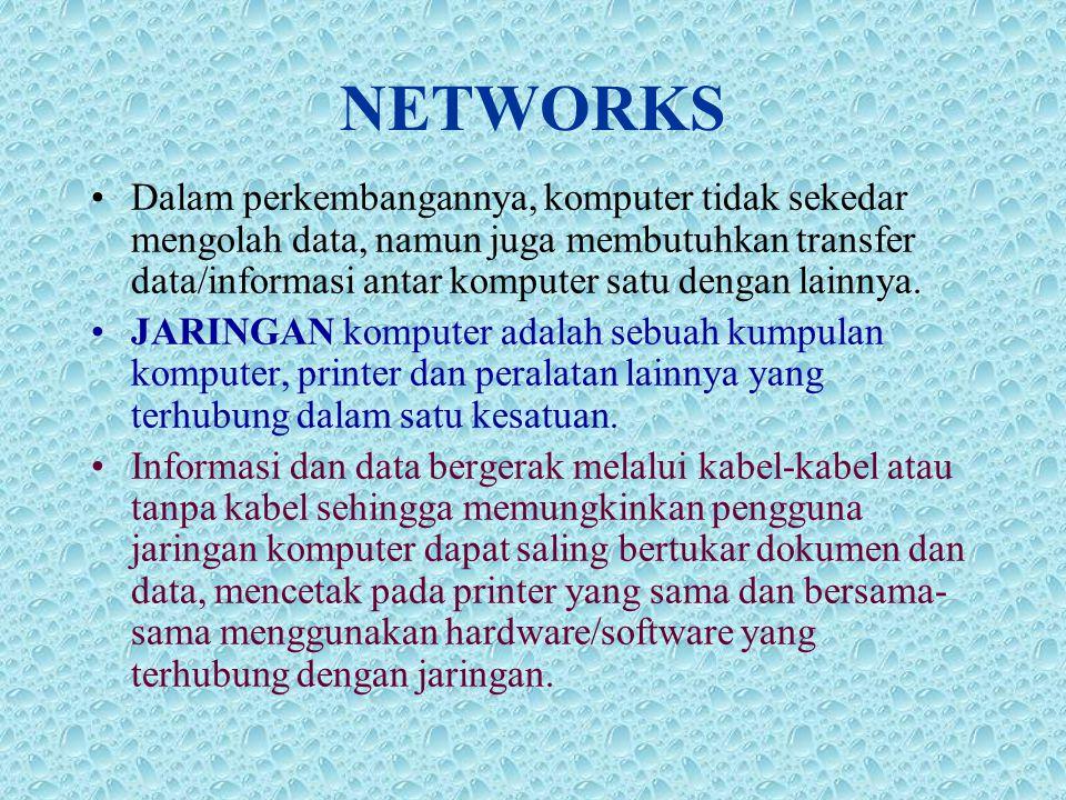 NETWORKS •Dalam perkembangannya, komputer tidak sekedar mengolah data, namun juga membutuhkan transfer data/informasi antar komputer satu dengan lainnya.