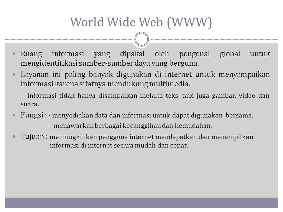 World Wide Web (WWW)  Ruang informasi yang dipakai oleh pengenal global untuk mengidentifikasi sumber-sumber daya yang berguna.  Layanan ini paling