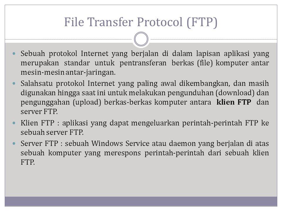 File Transfer Protocol (FTP)  Sebuah protokol Internet yang berjalan di dalam lapisan aplikasi yang merupakan standar untuk pentransferan berkas (file) komputer antar mesin-mesin antar-jaringan.