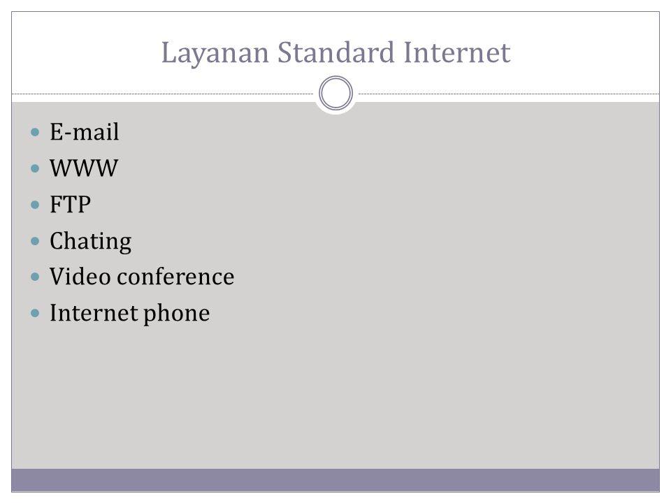 E-mail (electronic-mail)  Harus memiliki alamat pengirim dan tujuan  E-mail akan tersimpan ke dalam email box, sehingga penerima email tidak harus selalu terhubung ke internet.