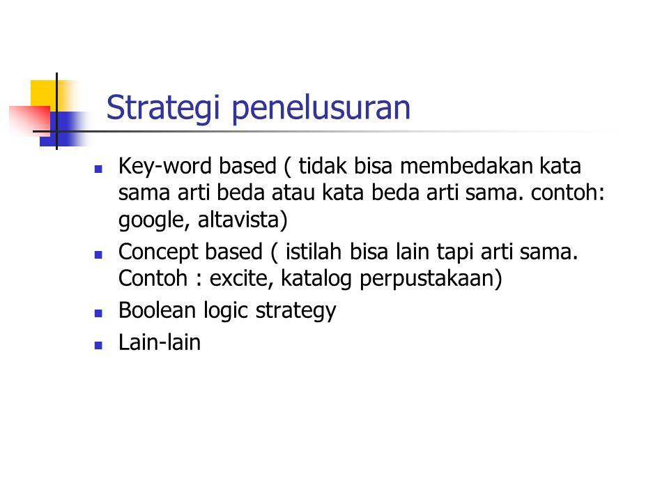 Strategi penelusuran  Key-word based ( tidak bisa membedakan kata sama arti beda atau kata beda arti sama.