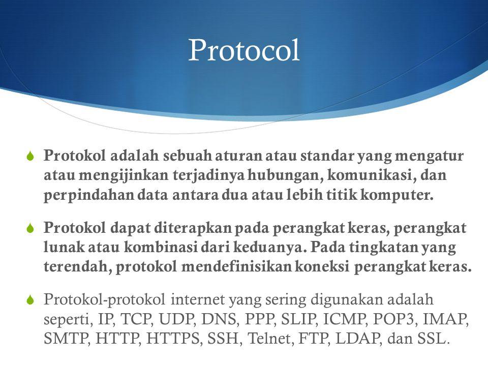 Protocol  Protokol adalah sebuah aturan atau standar yang mengatur atau mengijinkan terjadinya hubungan, komunikasi, dan perpindahan data antara dua