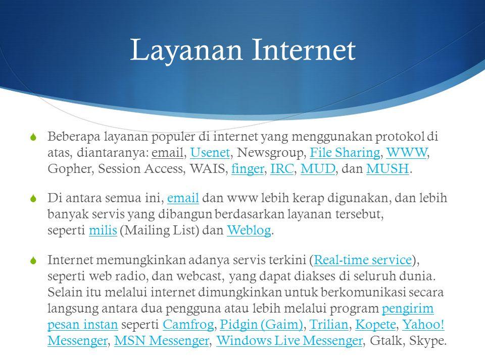 Layanan Internet  Beberapa layanan populer di internet yang menggunakan protokol di atas, diantaranya: email, Usenet, Newsgroup, File Sharing, WWW, G