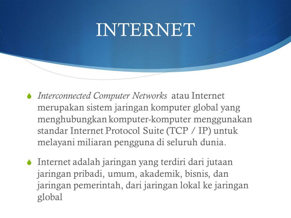 INTERNET  Interconnected Computer Networks atau Internet merupakan sistem jaringan komputer global yang menghubungkan komputer-komputer menggunakan s