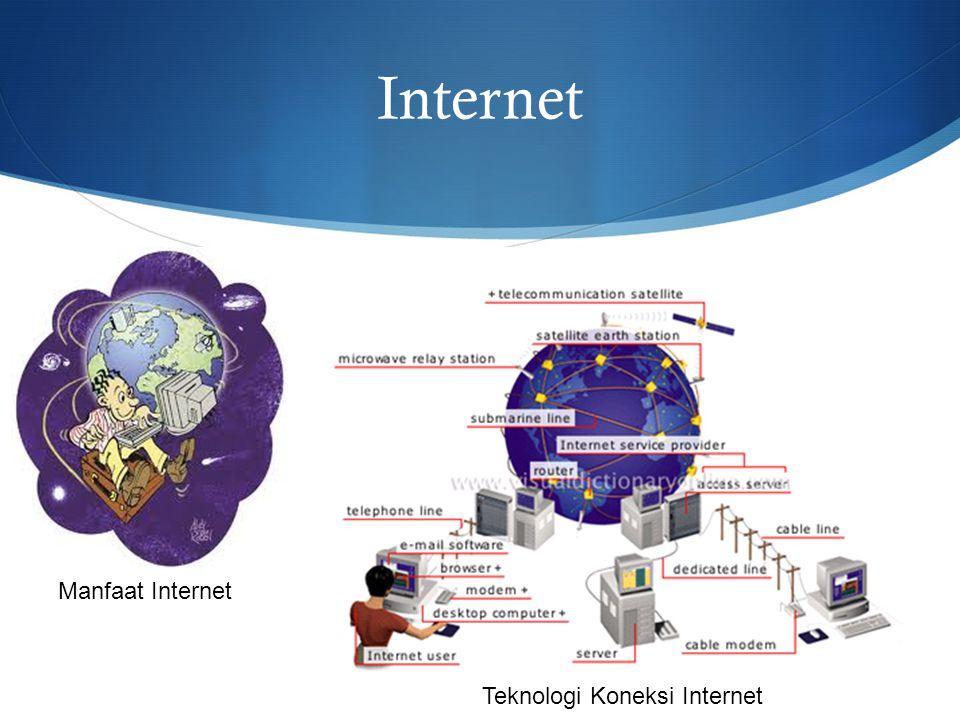 Manfaat Internet Manfaat Internet Bagi Pelajar dan Dunia Pendidikan  Memperluas wawasan dan ilmu pengetahuan  Sebagai sumber tambahan pelajaran yang belum di mengerti di sekolah (pengkayaan pemahaman)  Melatih siswa supaya mengetahui cara-cara penggunaan komputer, dan memberi wawasan pemanfaatan teknologi informasi dan komunikasi  Sebagai sarana komunikasi antar siswa dan/dengan guru  Sarana Kreatifitas