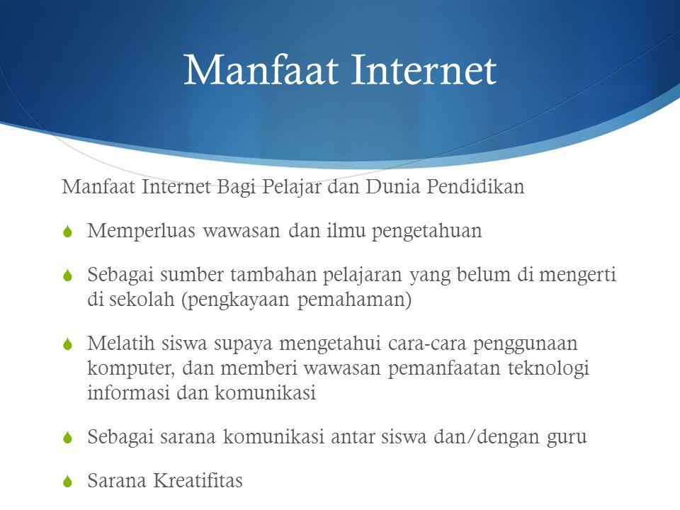 Manfaat Internet Manfaat Internet Bagi Pelajar dan Dunia Pendidikan  Memperluas wawasan dan ilmu pengetahuan  Sebagai sumber tambahan pelajaran yang