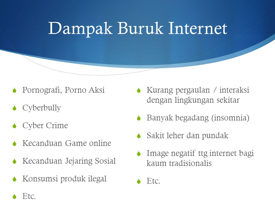 Dampak Buruk Internet  Pornografi, Porno Aksi  Cyberbully  Cyber Crime  Kecanduan Game online  Kecanduan Jejaring Sosial  Konsumsi produk ilegal