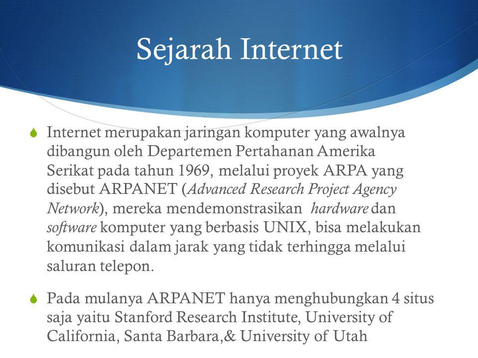 Sejarah Internet  Internet merupakan jaringan komputer yang awalnya dibangun oleh Departemen Pertahanan Amerika Serikat pada tahun 1969, melalui proy
