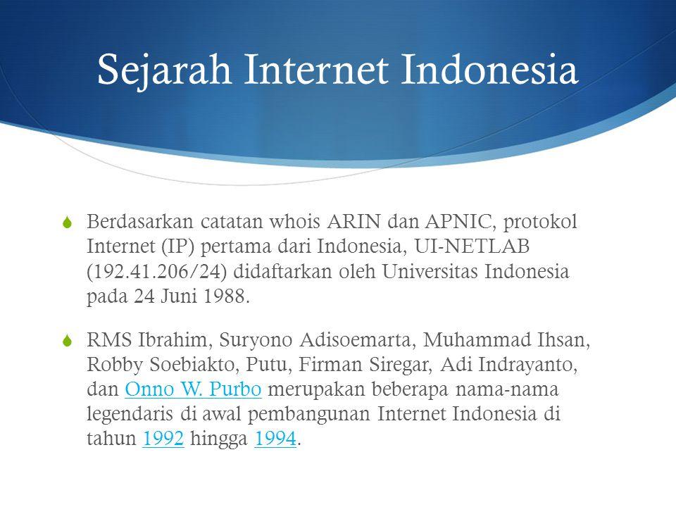 Sejarah Internet Indonesia  Berdasarkan catatan whois ARIN dan APNIC, protokol Internet (IP) pertama dari Indonesia, UI-NETLAB (192.41.206/24) didaft