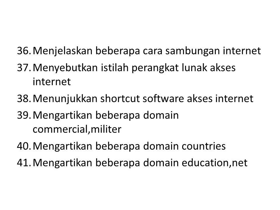 36.Menjelaskan beberapa cara sambungan internet 37.Menyebutkan istilah perangkat lunak akses internet 38.Menunjukkan shortcut software akses internet