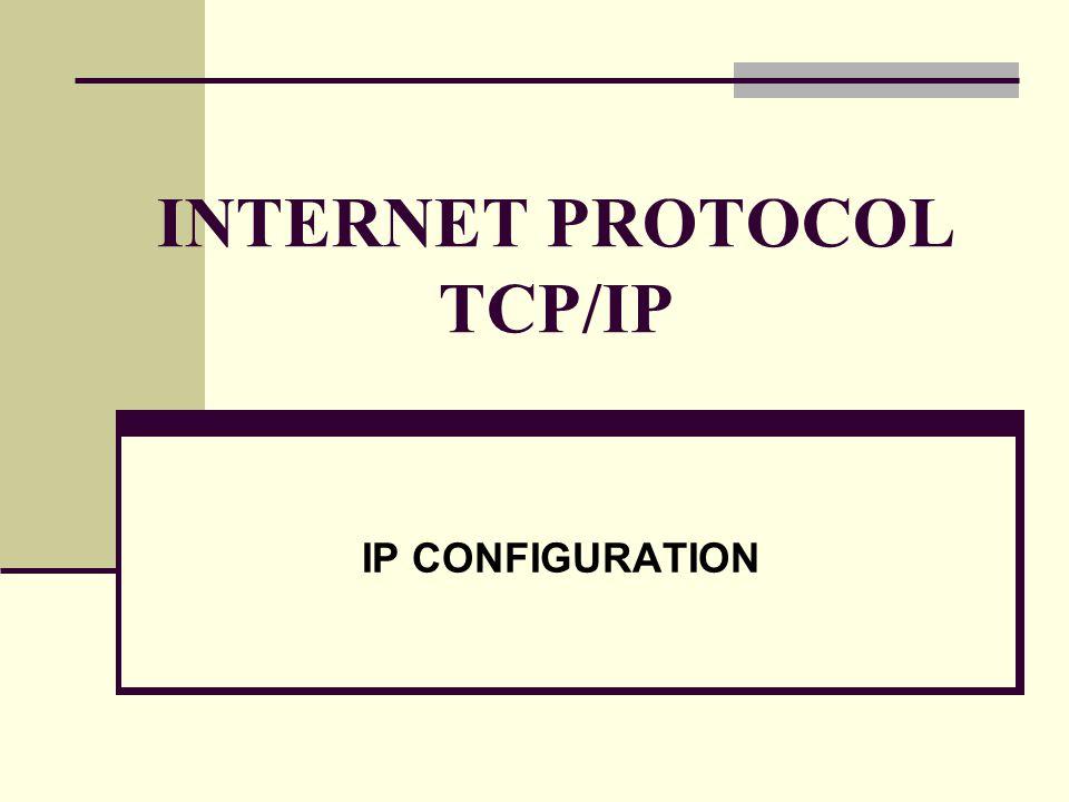 INTERNET PROTOCOL TCP/IP IP CONFIGURATION