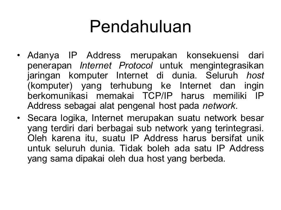 Pendahuluan •Adanya IP Address merupakan konsekuensi dari penerapan Internet Protocol untuk mengintegrasikan jaringan komputer Internet di dunia. Selu
