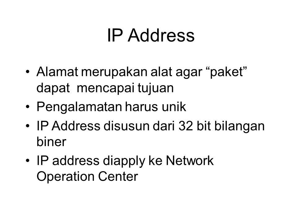"IP Address •Alamat merupakan alat agar ""paket"" dapat mencapai tujuan •Pengalamatan harus unik •IP Address disusun dari 32 bit bilangan biner •IP addre"