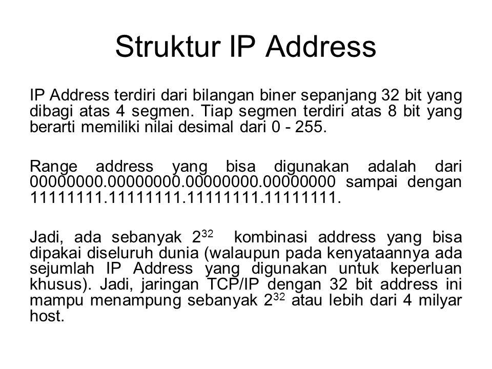 Struktur IP Address IP Address terdiri dari bilangan biner sepanjang 32 bit yang dibagi atas 4 segmen. Tiap segmen terdiri atas 8 bit yang berarti mem