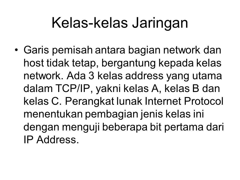 Kelas-kelas Jaringan •Garis pemisah antara bagian network dan host tidak tetap, bergantung kepada kelas network. Ada 3 kelas address yang utama dalam
