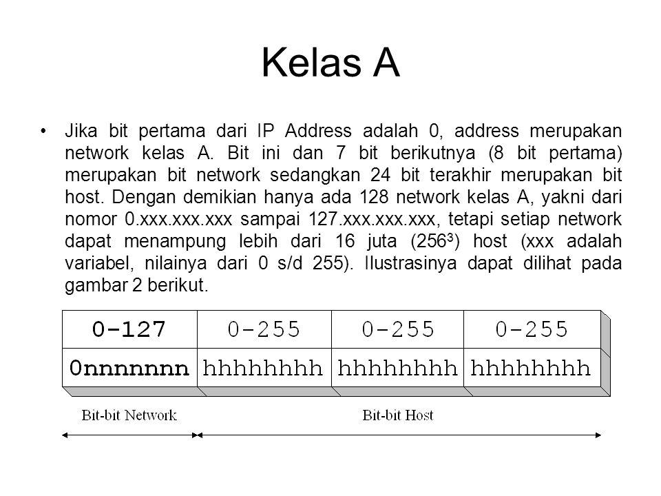 Kelas A •Jika bit pertama dari IP Address adalah 0, address merupakan network kelas A. Bit ini dan 7 bit berikutnya (8 bit pertama) merupakan bit netw