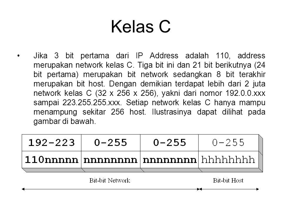 Kelas C •Jika 3 bit pertama dari IP Address adalah 110, address merupakan network kelas C. Tiga bit ini dan 21 bit berikutnya (24 bit pertama) merupak