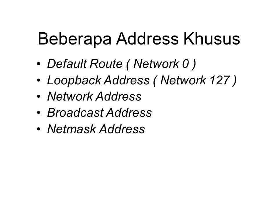 Beberapa Address Khusus •Default Route ( Network 0 ) •Loopback Address ( Network 127 ) •Network Address •Broadcast Address •Netmask Address