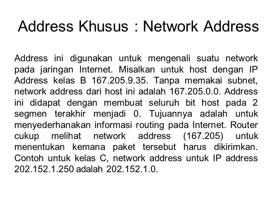 Address Khusus : Network Address Address ini digunakan untuk mengenali suatu network pada jaringan Internet. Misalkan untuk host dengan IP Address kel
