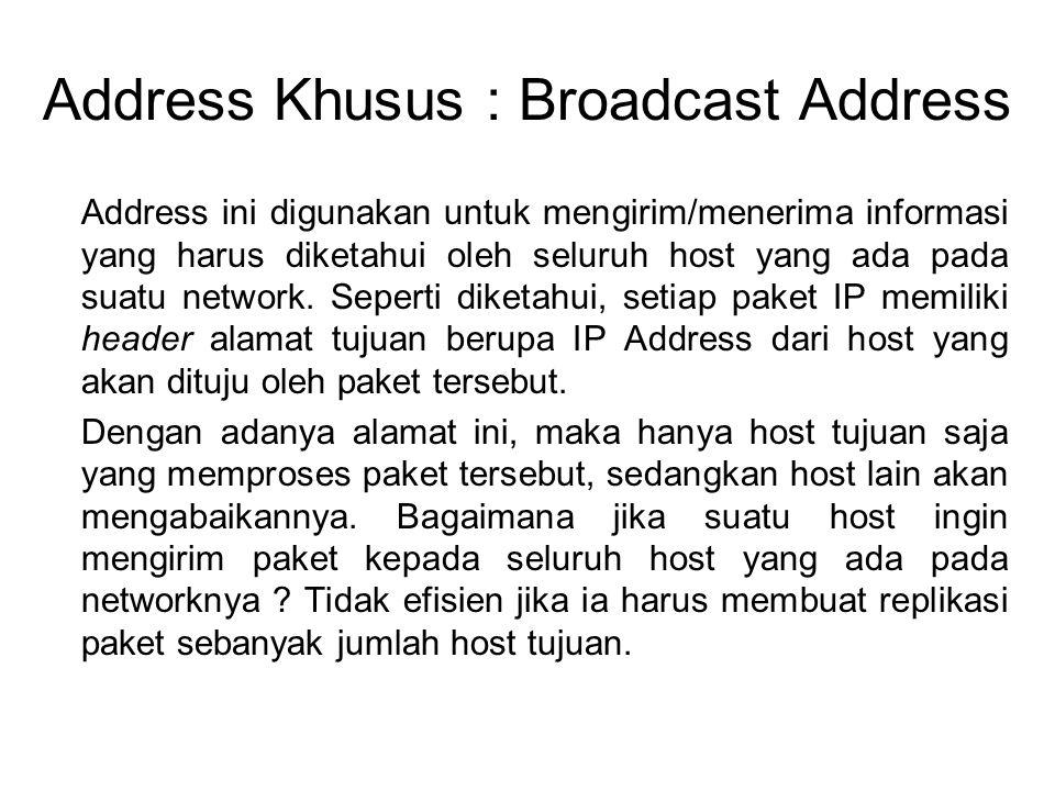 Address Khusus : Broadcast Address Address ini digunakan untuk mengirim/menerima informasi yang harus diketahui oleh seluruh host yang ada pada suatu