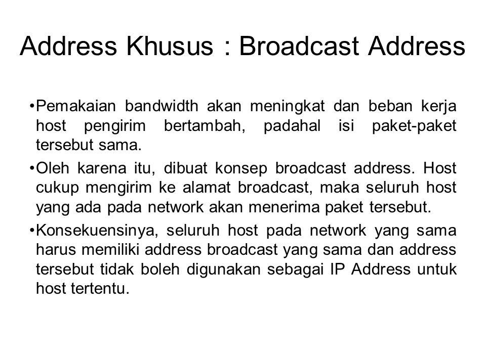 Address Khusus : Broadcast Address •Pemakaian bandwidth akan meningkat dan beban kerja host pengirim bertambah, padahal isi paket-paket tersebut sama.