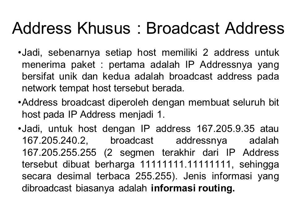 Address Khusus : Broadcast Address •Jadi, sebenarnya setiap host memiliki 2 address untuk menerima paket : pertama adalah IP Addressnya yang bersifat