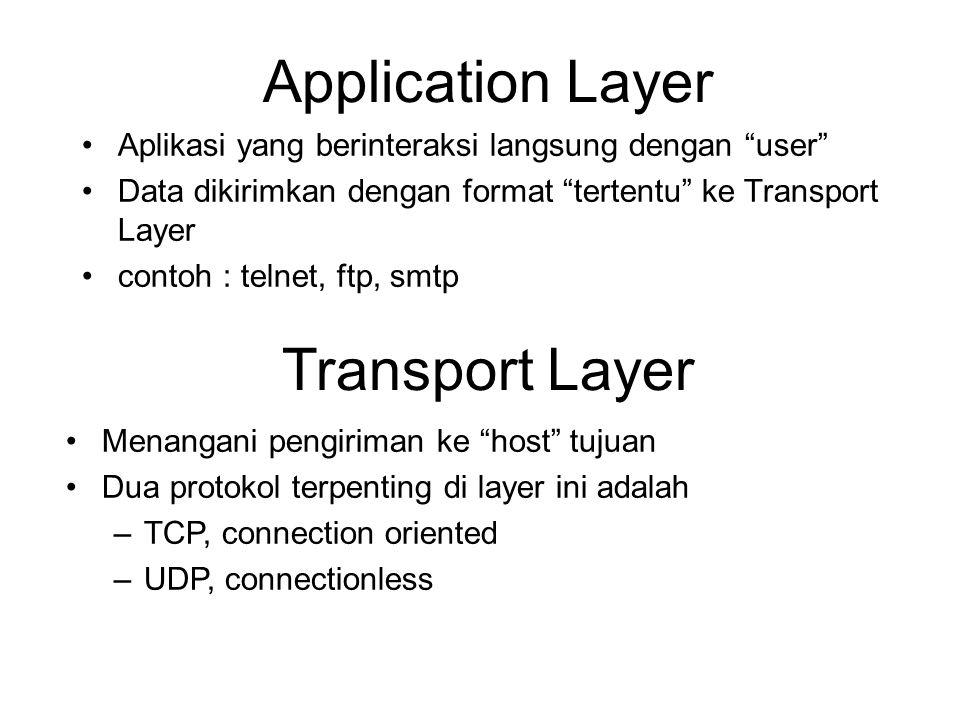 """Application Layer •Aplikasi yang berinteraksi langsung dengan """"user"""" •Data dikirimkan dengan format """"tertentu"""" ke Transport Layer •contoh : telnet, ft"""
