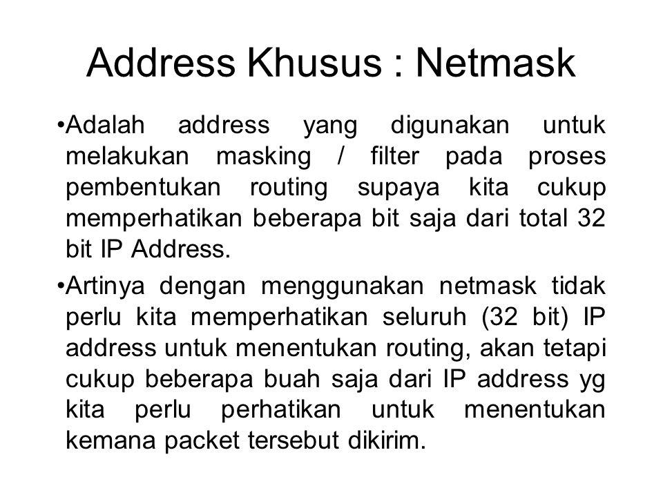 Address Khusus : Netmask •Adalah address yang digunakan untuk melakukan masking / filter pada proses pembentukan routing supaya kita cukup memperhatik