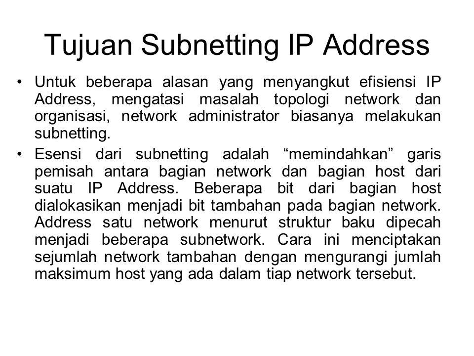 Tujuan Subnetting IP Address •Untuk beberapa alasan yang menyangkut efisiensi IP Address, mengatasi masalah topologi network dan organisasi, network a