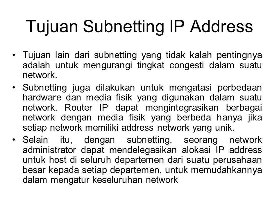 Tujuan Subnetting IP Address •Tujuan lain dari subnetting yang tidak kalah pentingnya adalah untuk mengurangi tingkat congesti dalam suatu network. •S