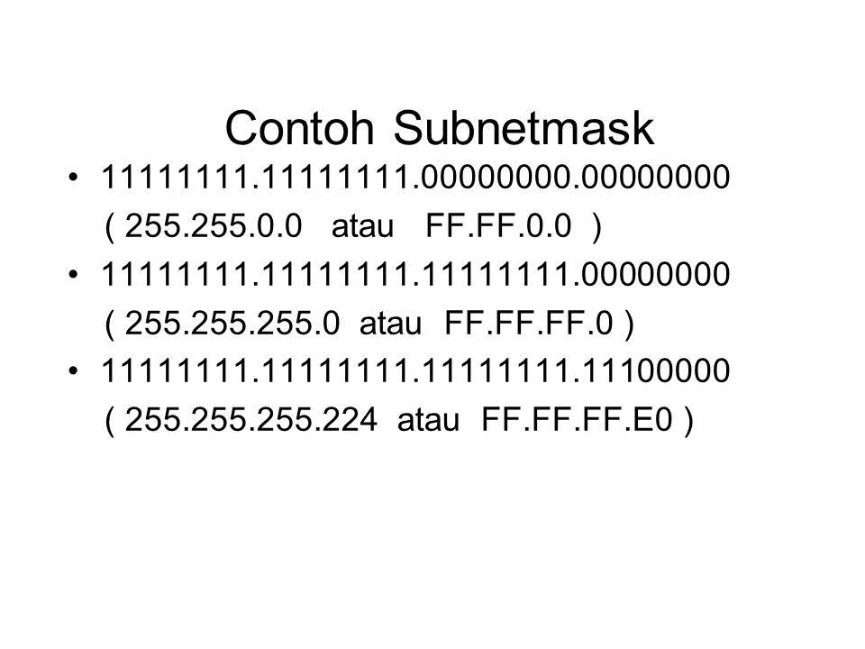 Contoh Subnetmask •11111111.11111111.00000000.00000000 ( 255.255.0.0 atau FF.FF.0.0 ) •11111111.11111111.11111111.00000000 ( 255.255.255.0 atau FF.FF.