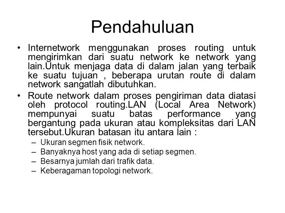 Pendahuluan •Internetwork menggunakan proses routing untuk mengirimkan dari suatu network ke network yang lain.Untuk menjaga data di dalam jalan yang