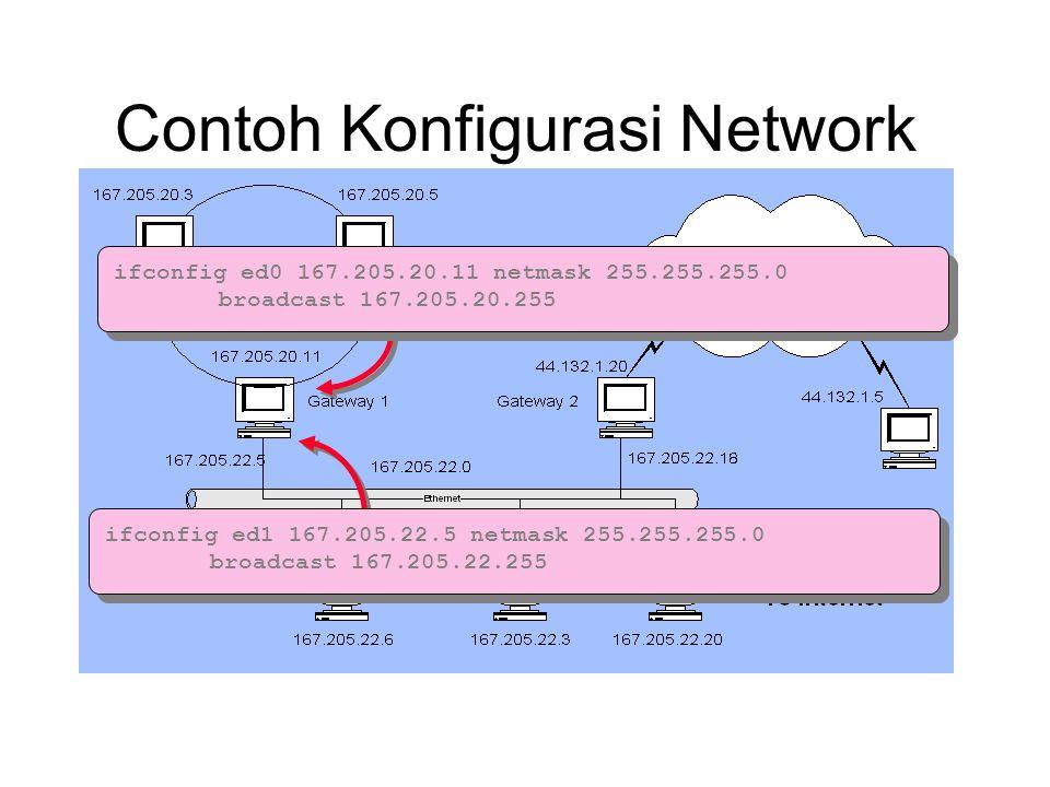 Contoh Konfigurasi Network ifconfig ed0 167.205.20.11 netmask 255.255.255.0 broadcast 167.205.20.255 ifconfig ed1 167.205.22.5 netmask 255.255.255.0 b