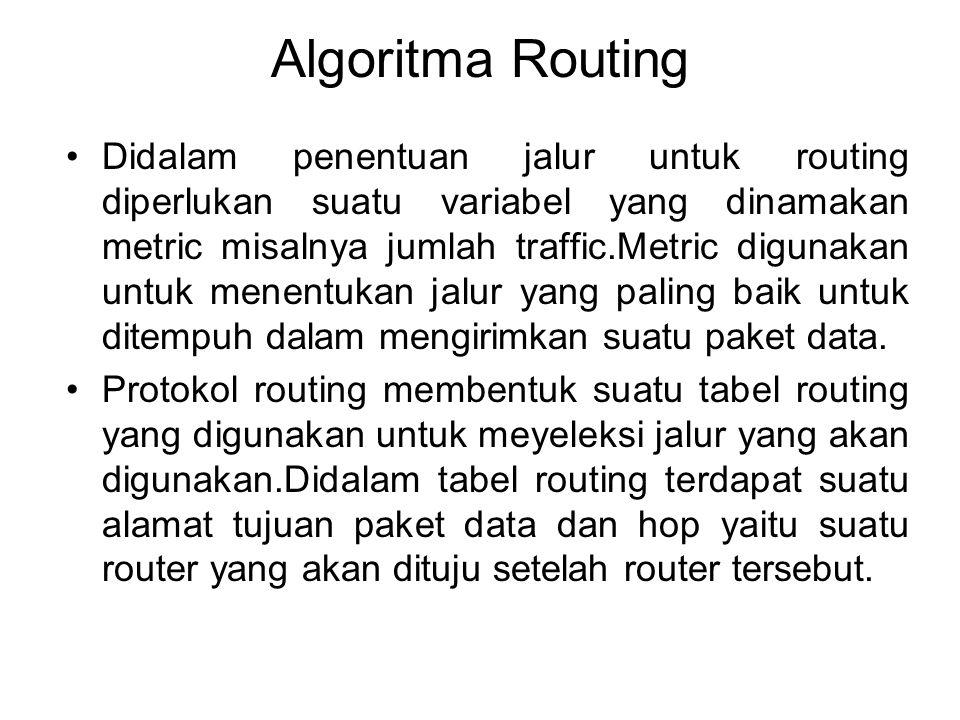 Algoritma Routing •Didalam penentuan jalur untuk routing diperlukan suatu variabel yang dinamakan metric misalnya jumlah traffic.Metric digunakan untu